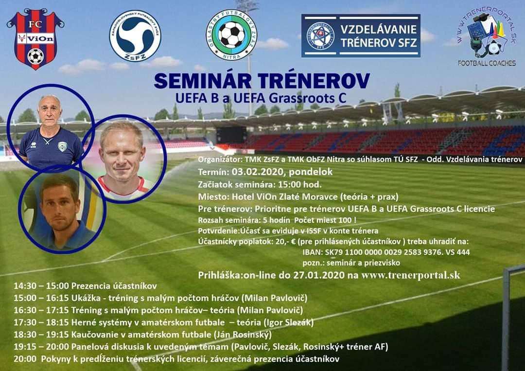 Photo of Seminár trénerov UEFA B a Grassroots C na ViOn-e